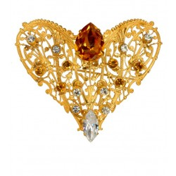 Golden Heart Shaped Filigree Brooch With strass