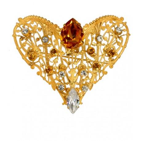 Broche Coeur  Filigrané Diamant Topaze Dorée
