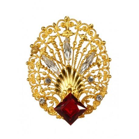 Broche Coquille Filigranée Dorée Diamant Rubis  Dorée