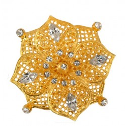 Golden  Flower Brooch With Diamond