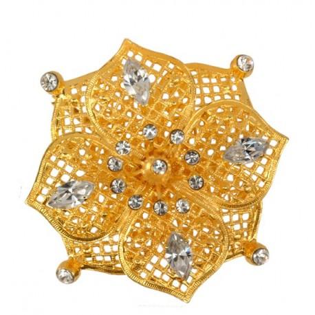 Broche Fleur Dorée Diamant Dorée