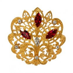 Golden Moorish  Styleed Filigree Brooch  With strass