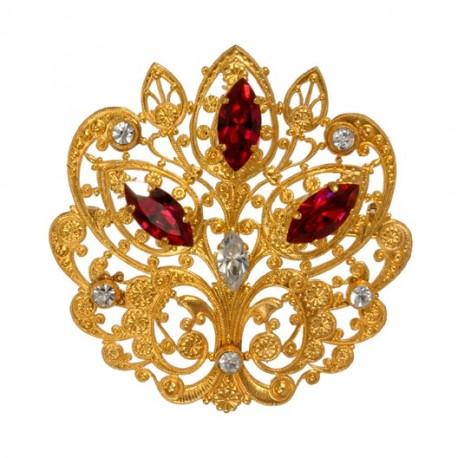 Broche Mauresque Filigrane Dorée Diamant Rubis Dorée