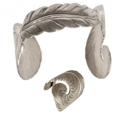 Parure Plume (Bague+Bracelet) Vieil Argent