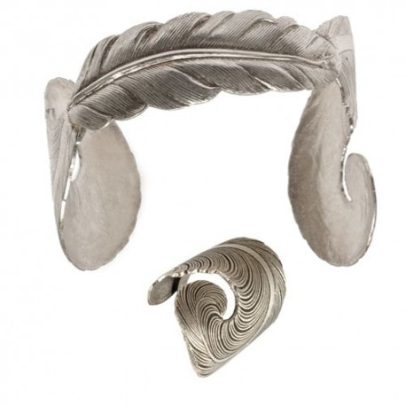 Old Silver Feather (Ring+Bracelet)