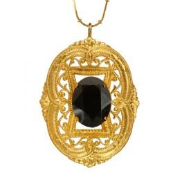 Golden Oval Filigree Pendant
