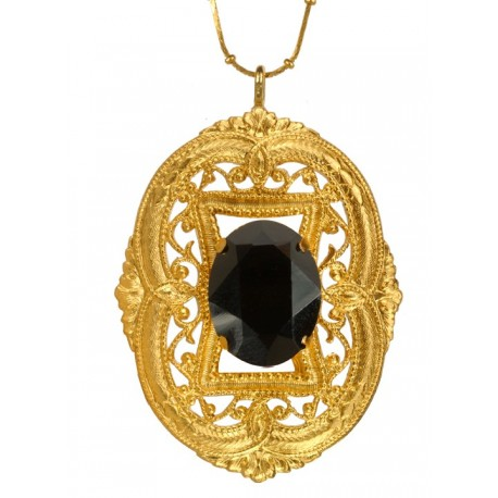 Golden Oval Filigree Pendant