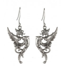 Silver plated Dragon Earrings