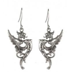 Silvery Dragon Earings