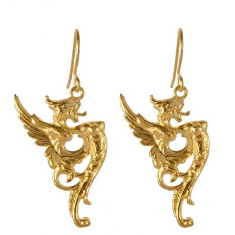 Boucles d'Oreilles Dragon Dorées