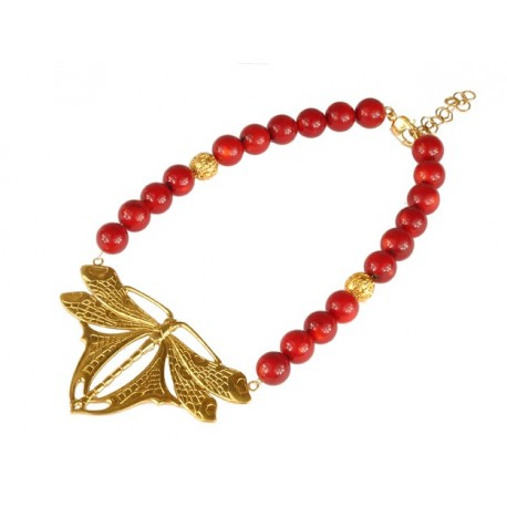 Golden Dragonfly Necklace