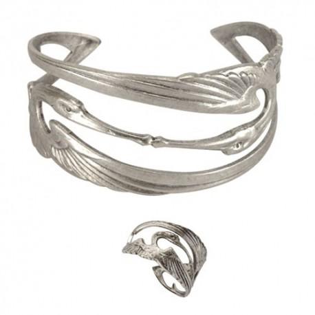 Parure Cigogne (Bague + Bracelet) Argentée