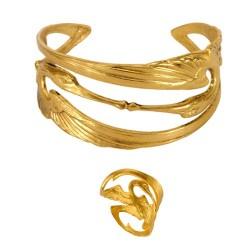 Parure Cigogne (Bague + Bracelet) Dorée