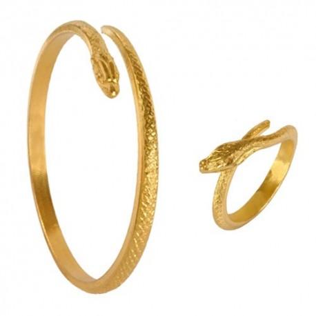 Parure Serpent (Bague + Bracelet) Dorée