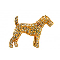 strass Golden  Dog Brooch