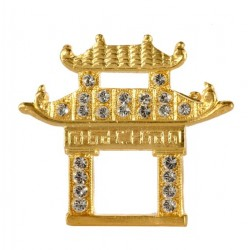 Gold plated Chinese pagoda and white crystal svarovski brooch