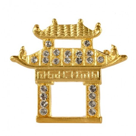 Broche Pagode Chinoise Dorée