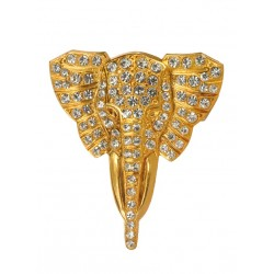 strass Golden  Elephant Pendant