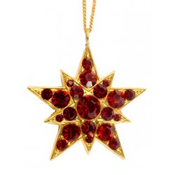 Gold plated red Strass Swarovski star pendant
