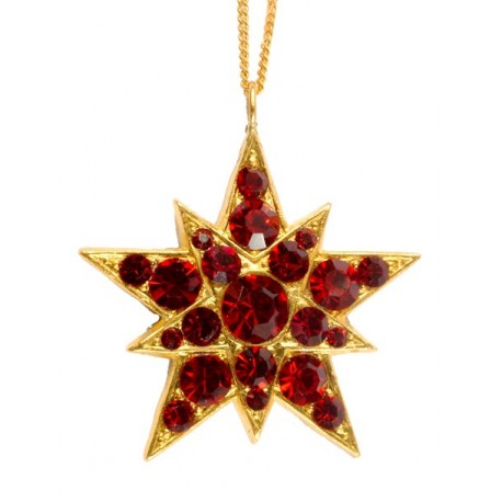 Pendentif Etoile Strass Rouge