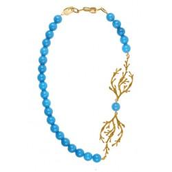 Collier Algues Doré Perles Bleues