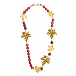 Necklace Gold Leaves and Red Gorgons