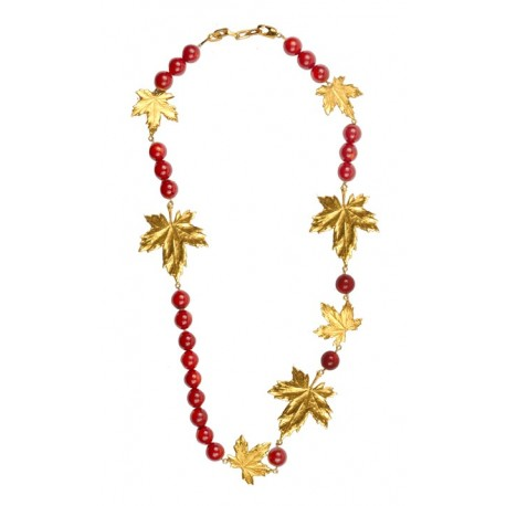 Collier Feuilles Gorgones Rouges