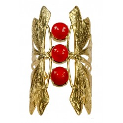 2 Gold plated Dragonflies and 3 Red gorgons Bracelet