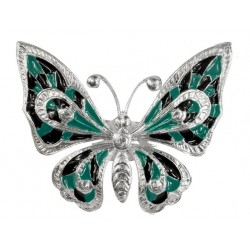silver plated  Big Butterfly  in green and black cold enamel ring