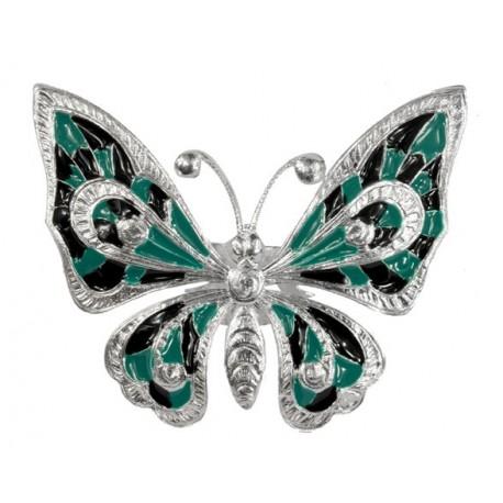 Bague Papillon Grand Argenté et Lacqué