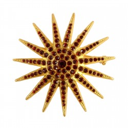 Golden Commander Star WITH RED STRASS Brooch