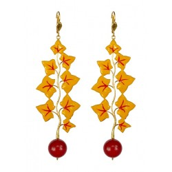 Earrings Leaves Gold color varnished in yellow and red