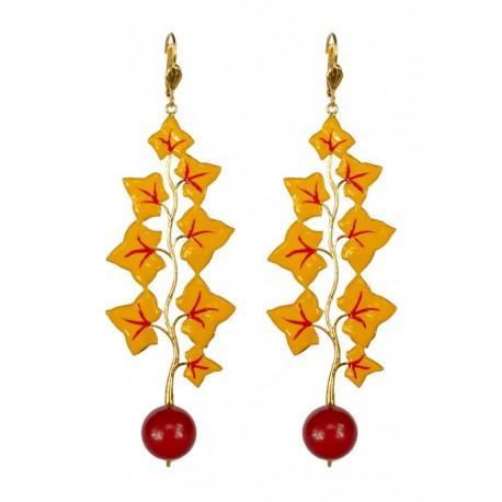 Boucles d'oreilles feuilles dorés et lacqués jaune rouge