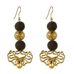 gold plated Octopus  and black lava stone  Earrings