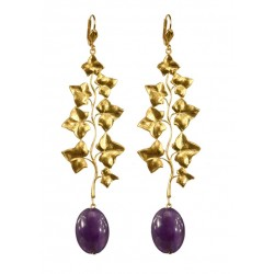 Earrings Leaves Gold color and Amethysts