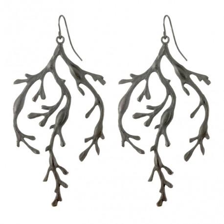 Boucles d'oreilles algues noires