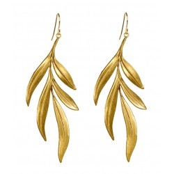 gold plated  algas Leaves Earrings