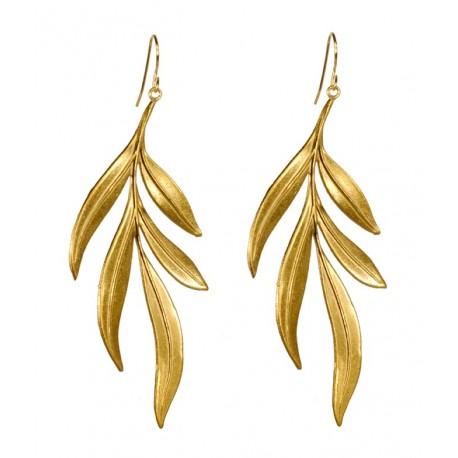 Boucles d'oreilles feuilles algues dorés