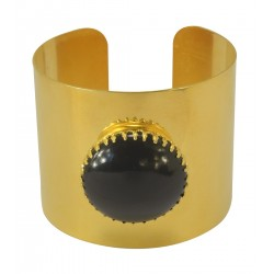 gold plated black stone bracelet