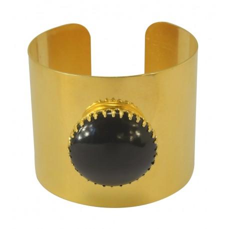 Bracelet Manchette Doré avec une pierre noire