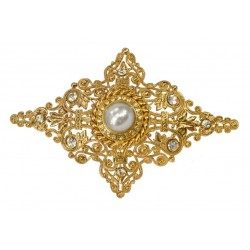 Golden Diamond Shaped Filigree Brooch