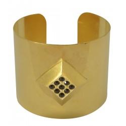 Bracelet manchette losange doré avec strass Swarovski noirs