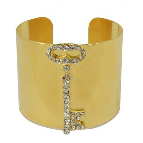 Bracelet Manchette Clé Doré avec strass Swarovski
