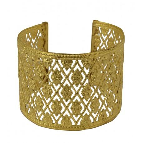 Bracelet manchette grillage Doré ajouré