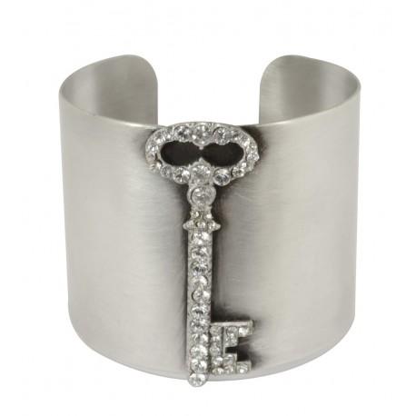 Bracelet manchette vieil argent clé strass Swarovski