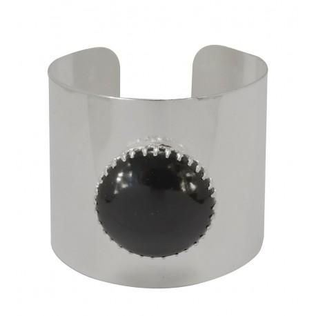 Bracelet manchette cuvette argenté avec pierre noire