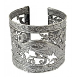 old silver plated peacock bracelet