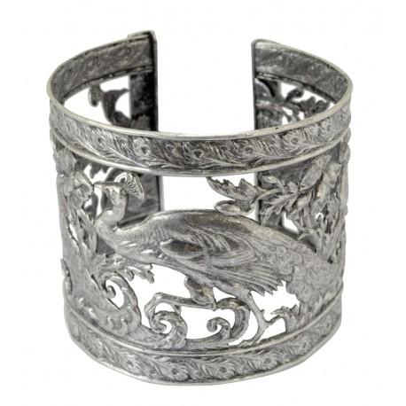 Bracelet manchette galerie paons vieil argent
