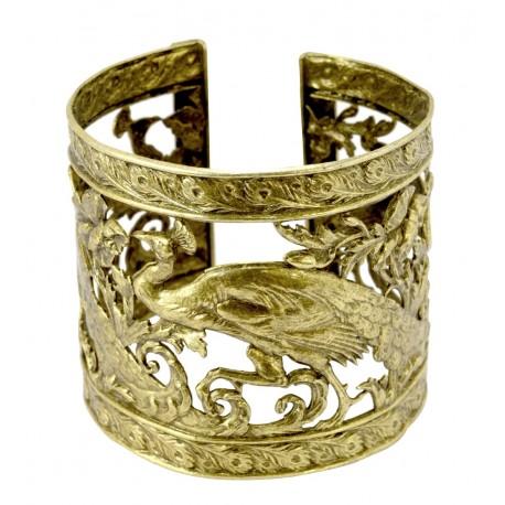 Bracelet manchette galerie Paons Vieil Or