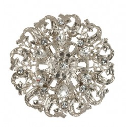 Silver plated round Filigree Brooch With white swarovski crystal